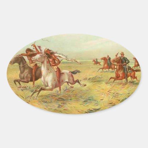 Calvary e indios pegatina ovalada