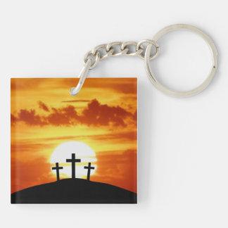 Calvary Sunrise Double-Sided Square Acrylic Keychain