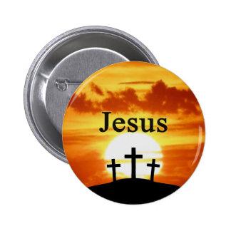 Calvary sunrise Jesus Button