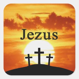 Calvary Sunrise Jezus Square Sticker