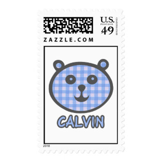 Calvin Blue Bear Postage Stamps