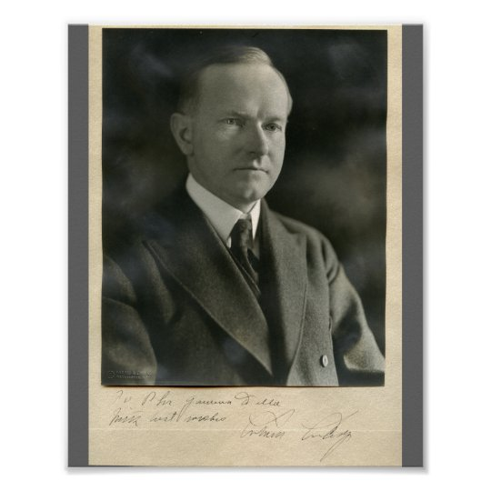 Persistence Motivational Quotes: Calvin Coolidge 8x10 Signed Poster