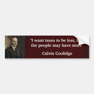 Calvin Coolidge Pegatina De Parachoque