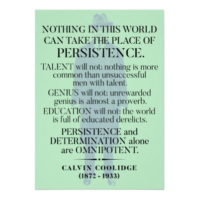 Calvin Coolidge Quotes Persistence | Calvin Coolidge Persistence Quote Poster Zazzle Com