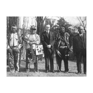 Calvin Coolidge with Osage Indians Photograph Canvas Print
