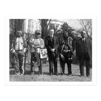 Calvin Coolidge with Osage Indians Photograph Postcard