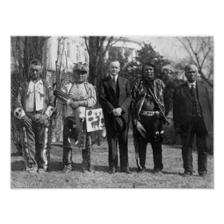 Calvin Coolidge with Osage Indians Photograph Poster