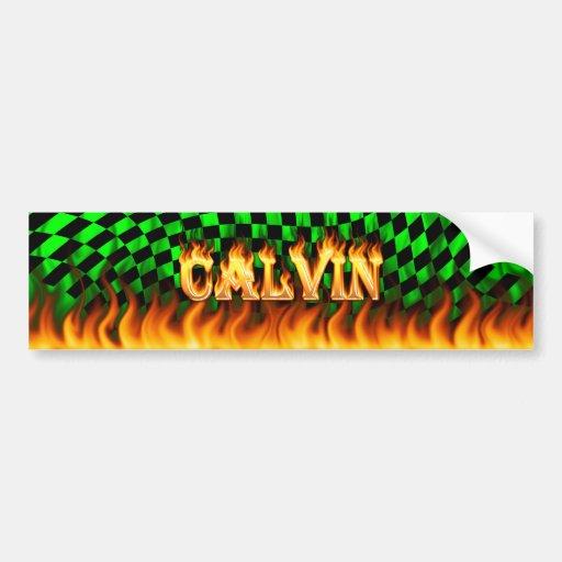 Calvin real fire and flames bumper sticker design.