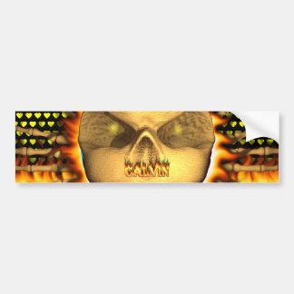 Calvin skull real fire and flames bumper sticker d