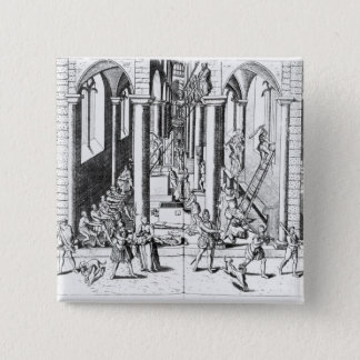 Calvinists destroying statues pinback button