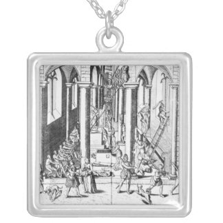 Calvinists destroying statues silver plated necklace