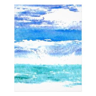 Calypso del océano - pintura de la resaca de la plantilla de membrete