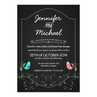 Calypso Love Birds Chalkboard Wedding Invitations