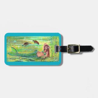 Calypso mermaid with sea turtles luggage tag