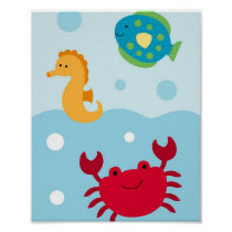 Calypso Nautical Fish Crab Nursery Wall Art Print