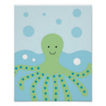 Calypso Nautical Octopus Nursery Wall Art Print