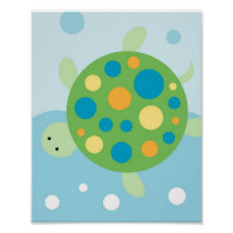 Calypso Nautical Sea Turtle Nursery Wall Art Print