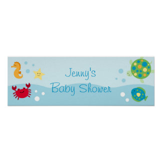Calypso Sea Creature Baby Shower Banner Sign