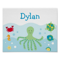 Calypso Sea Creature Nursery Wall Art Name Print