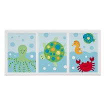 Calypso Sea Creature Nursery Wall Art Print