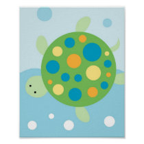 Calypso Sea Turtle Nautical Nursery Wall Art Print