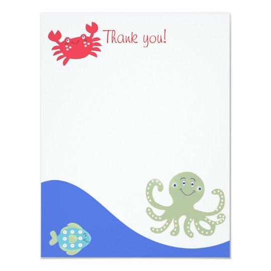 CALYPSO Under the Sea Octopus Flat Thank You Card