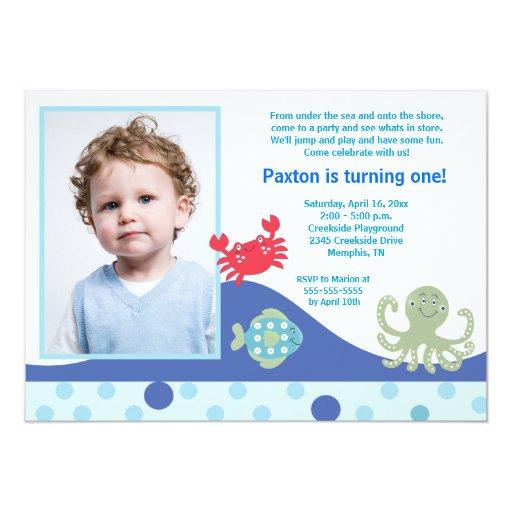 Calypso Under the Sea *PHOTO* Birthday 5x7 5x7 Paper Invitation Card