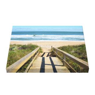 Calzada a la playa impresión de lienzo