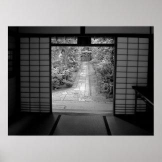 CALZADA del JARDÍN en el TEMPLO del ZEN en KYOTO,  Posters