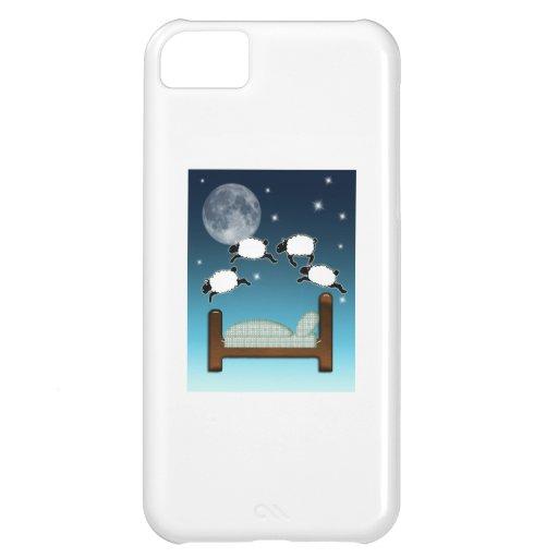 Cama, cielo, y cuenta de ovejas en la noche funda para iPhone 5C