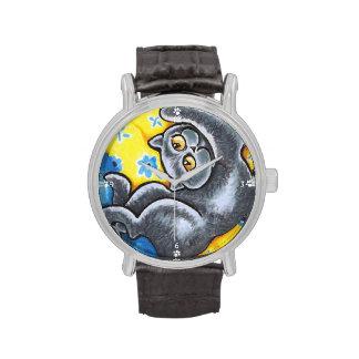 Cama de flor británica azul del gato de Shorthair Relojes