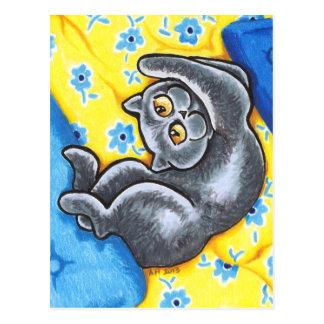 Cama de flor británica azul del gato de Shorthair Tarjeta Postal