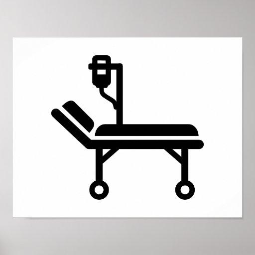 Cama de hospital póster