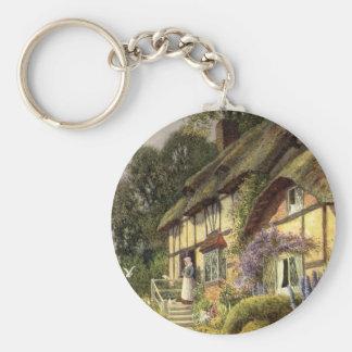 Cama de la cabaña del país del vintage - y - mesón llavero redondo tipo pin