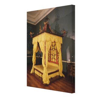 Cama de la cama imperial, en el estilo chino, 1750 impresión de lienzo