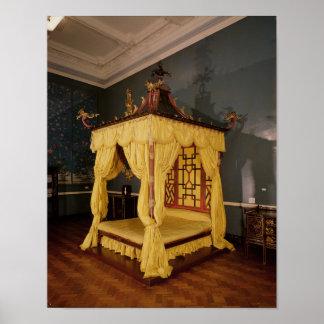Cama de la cama imperial, en el estilo chino, 1750 posters
