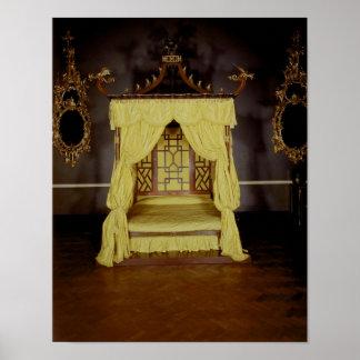 Cama de la cama imperial, en el estilo chino, 1750 impresiones