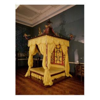 Cama de la cama imperial, en el estilo chino, 1750 tarjeta postal