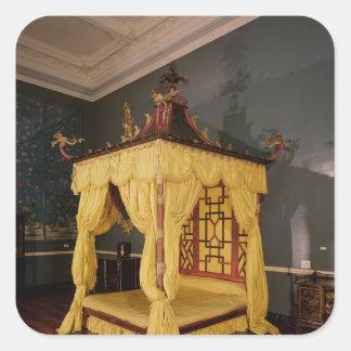 Cama de la cama imperial, en el estilo chino, pegatina cuadrada