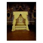 Cama de la cama imperial, en el estilo chino, postal
