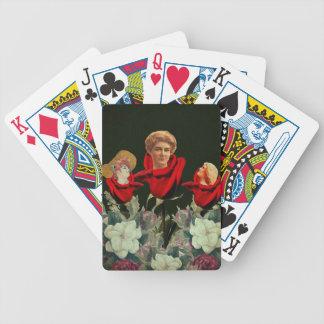 Cama de los rosas de la mujer del vintage cartas de juego