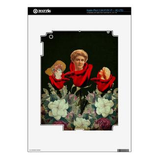 Cama de los rosas de la mujer del vintage pegatinas skins para iPad 3