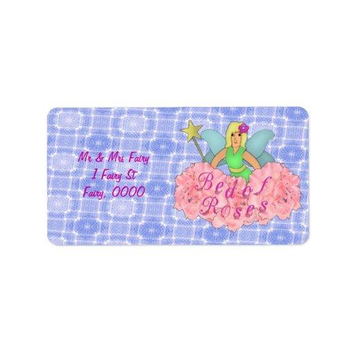 Cama de rosas etiquetas de dirección