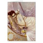 cama de seda púrpura blanca del gato de la señora  tarjetas