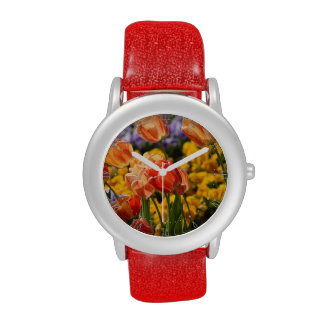 cama de tulipán relojes de pulsera