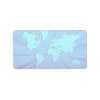 Cama gráfica azul del mapa del mundo etiqueta de dirección