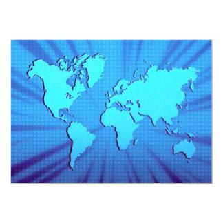 Cama gráfica azul del mapa del mundo invitación 12,7 x 17,8 cm