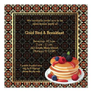 """Cama y desayuno de la gran inauguración invitación 5.25"""" x 5.25"""""""