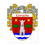 Camacho Coat of Arms/Family Crest (Mantled) Post Card