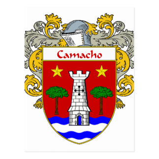 Camacho Coat of Arms/Family Crest (Mantled) Postcard